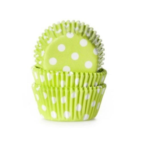 Papierbackförmchen - Polka Dot grün