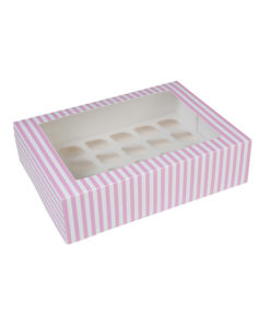 24er Cupcake Box - pink gestreift, mini