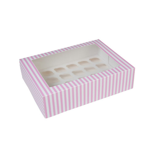 24er Cupcake Box - pink gestreift, mini