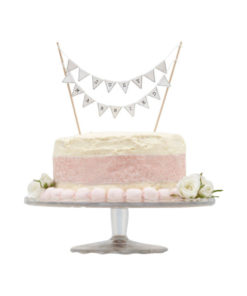 Cake Topper Just Married White Bunting