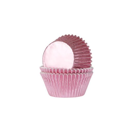 Papierbackförmchen - metallic rosa, mini