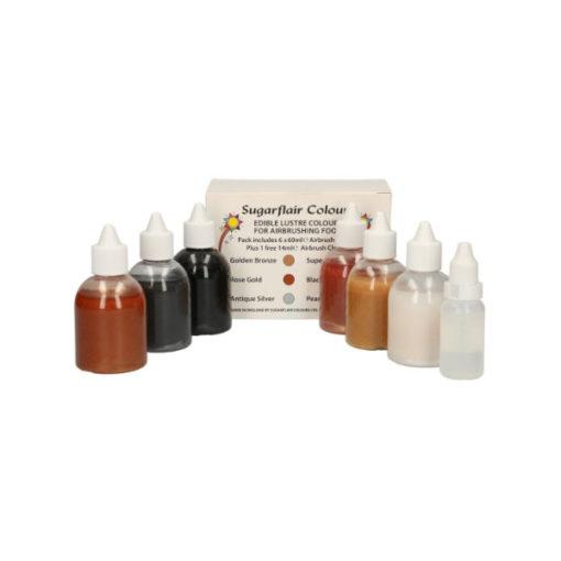 Sugarflair Glitzer Airbrush Lebensmittelfarben Set