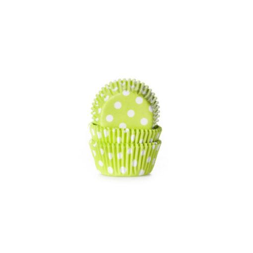 Papierbackförmchen - Polka Dot hellgrün, mini