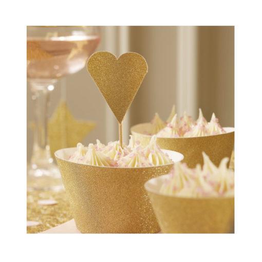 Cupcake Topper - Herz gold mit Glitzer