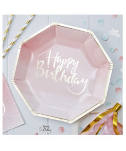 Papierteller Happy Birthday - Ombré Pink & Gold