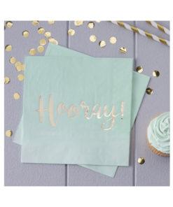 Servietten Hooray – Ombré Mint & Gold