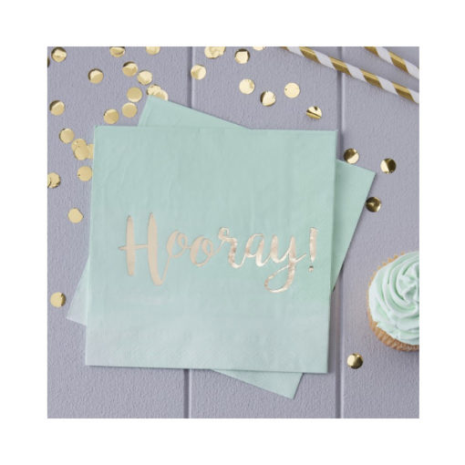 Servietten Hooray – Ombré Mint & Gold