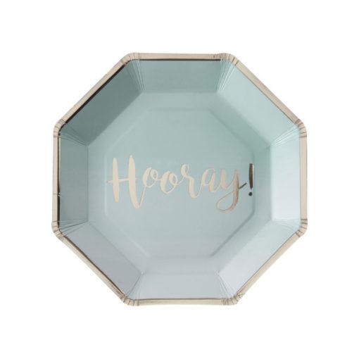 Papierteller Hooray - Ombré Mint Grün & Gold