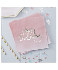 Servietten Happy Birthday – ombré pink & gold