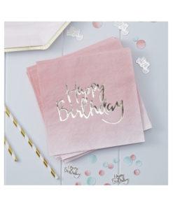 Servietten Happy Birthday – ombré pink & gold