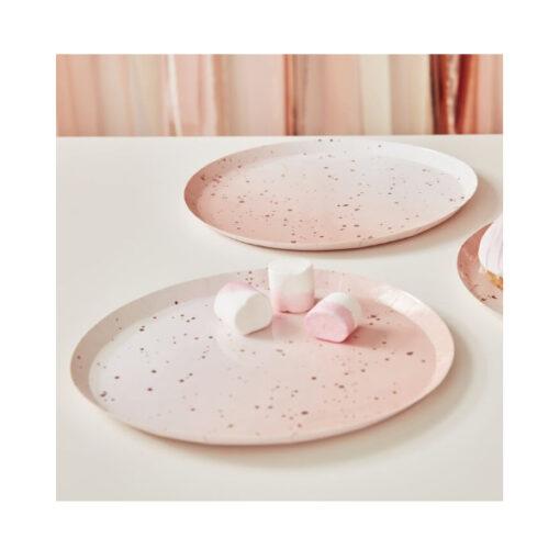 Papierteller - ombré pink & rose gold