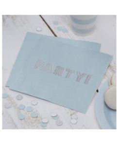 Servietten Party – pastell blau & silber