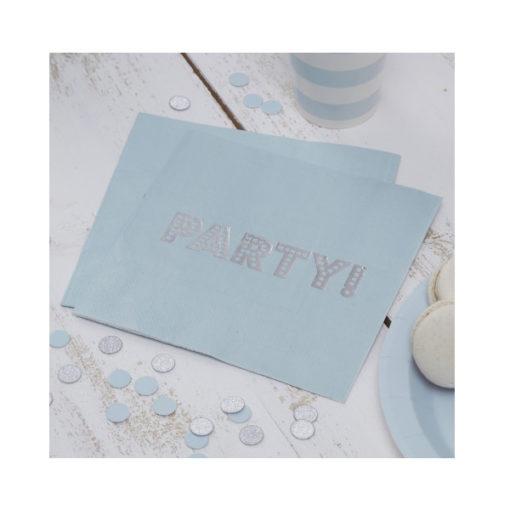 Servietten Party – pastell blau & silber