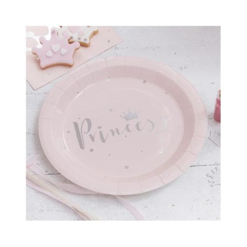 Papierteller Prinzessin - Rosa & Silber