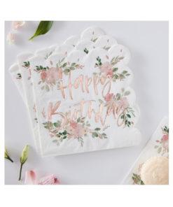 Servietten Happy Birthday – Blumen