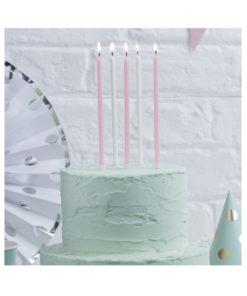 Geburtstagskerzen lang - Glitzer weiss und rosa