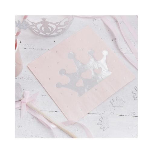Servietten Prinzessin – Rosa & Silber