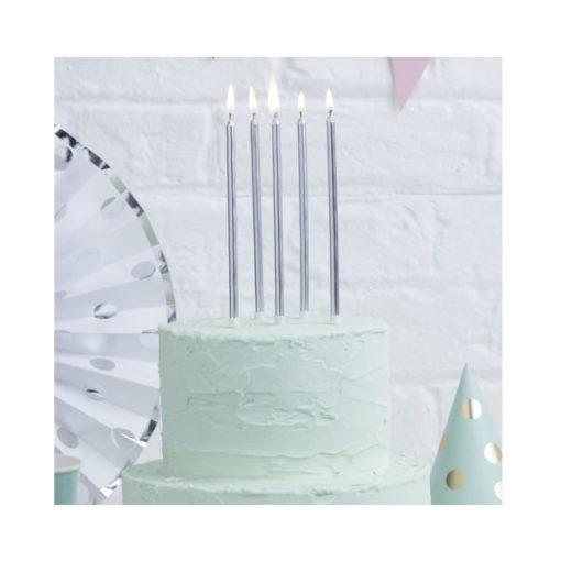 Geburtstagskerzen lang - silber