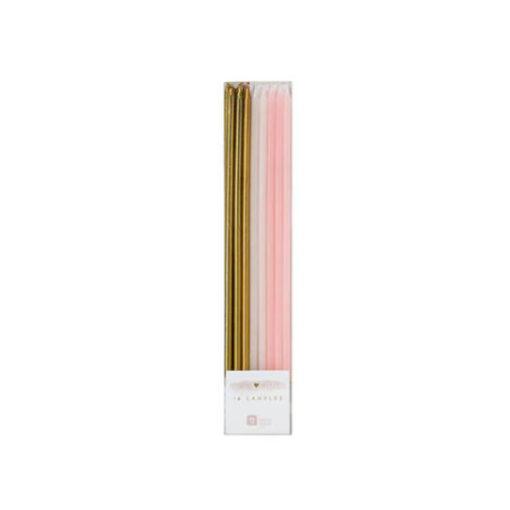 Geburtstagskerzen lang - gold, rosa, weiss