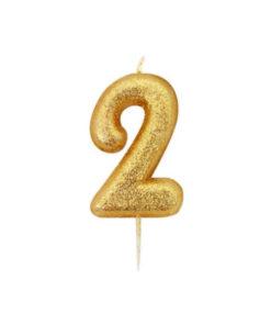 Zahlenkerze 2, gold Glitzer