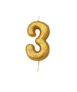 Zahlenkerze 3, gold Glitzer