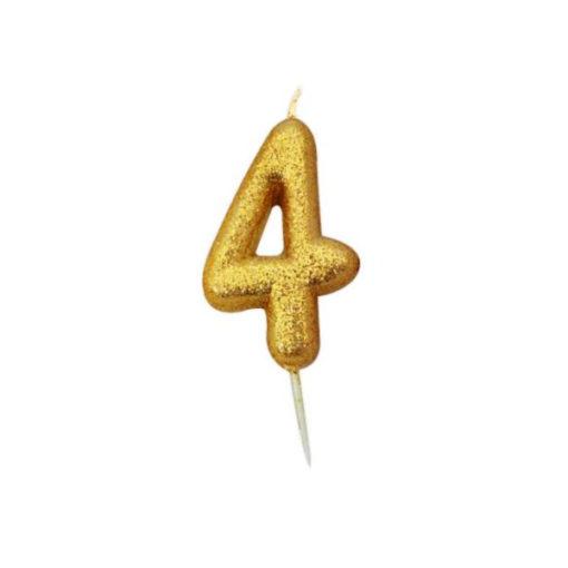 Zahlenkerze 4, gold Glitzer