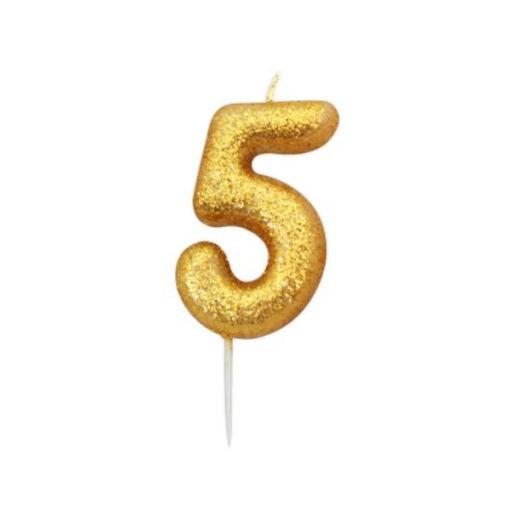 Zahlenkerze 5, gold Glitzer