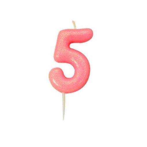 Zahlenkerze 5, rosa Glitzer