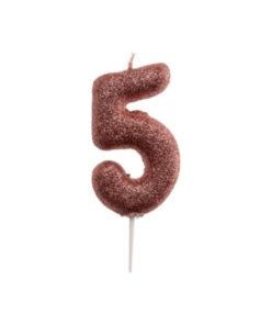 Zahlenkerze 5, rosé gold Glitzer