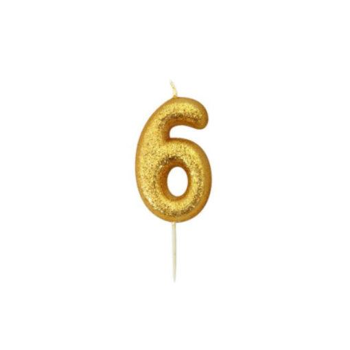 Zahlenkerze 6, gold Glitzer