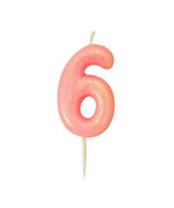 Zahlenkerze 6, rosa Glitzer