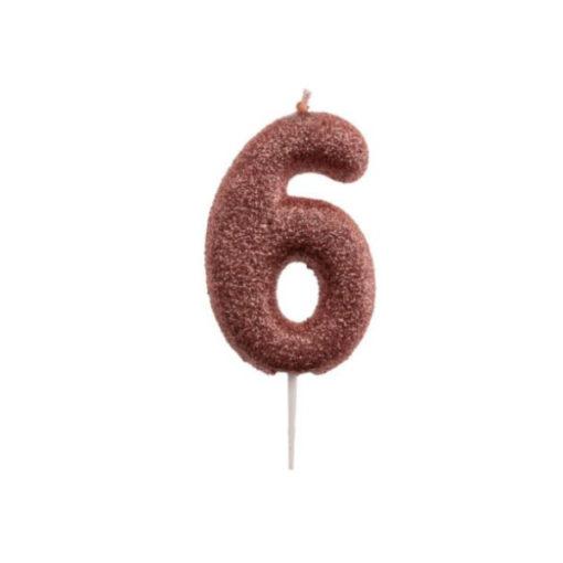 Zahlenkerze 6, rosé gold Glitzer