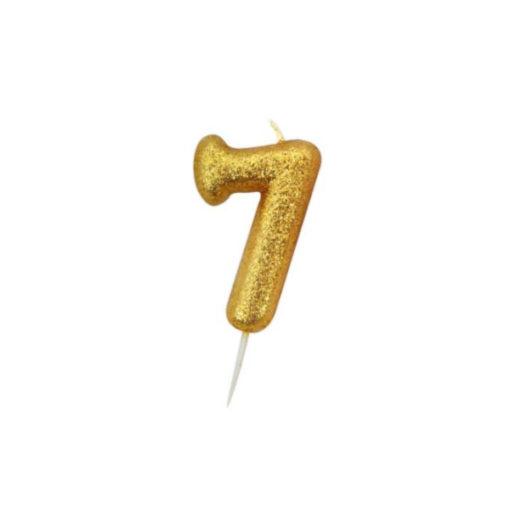 Zahlenkerze 7, gold Glitzer