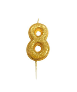 Zahlenkerze 8, gold Glitzer