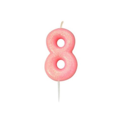 Zahlenkerze 8, rosa Glitzer