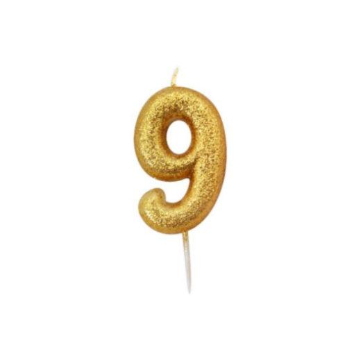 Zahlenkerze 9, gold Glitzer
