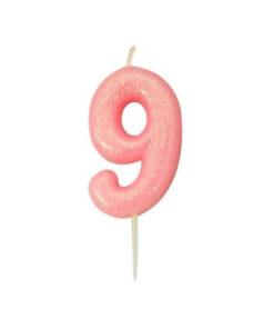 Zahlenkerze 9, rosa Glitzer