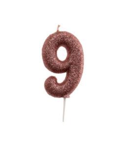 Zahlenkerze 9, rosé gold Glitzer