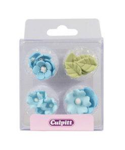 Zuckerblumen und Blätter - blau