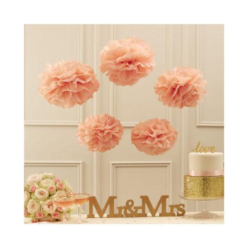 Pom Poms pastel rosa