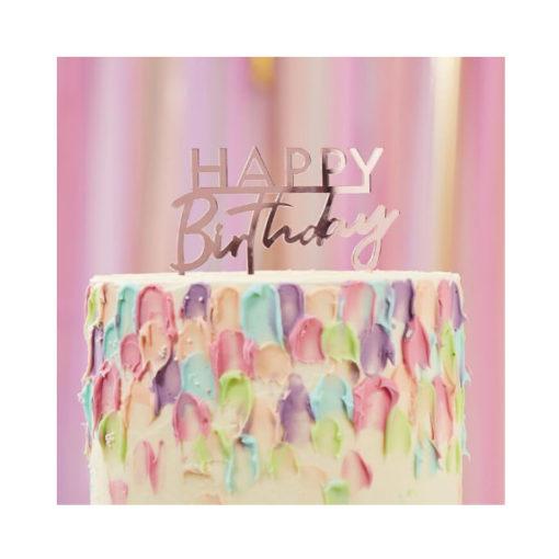 Cake Topper Happy Birthday rosa