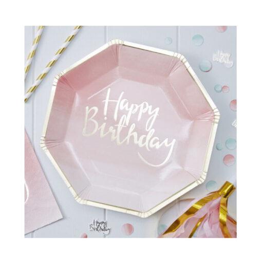 Papierteller Happy Birthday - Ombré rosé gold