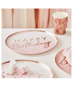 Papierteller Happy Birthday - Ombré rosé gold
