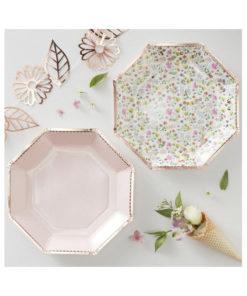 Pappteller - Floral rosé gold