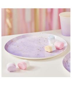 Pappteller - ombré lila & gold
