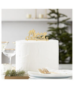 Cake Topper - Merry Christmas, gold