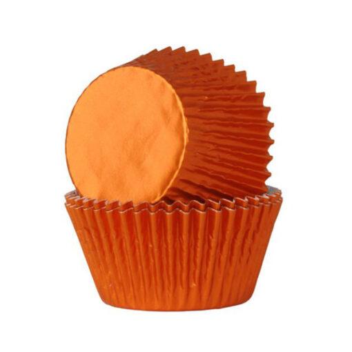 Papierbackförmchen - metallic orange