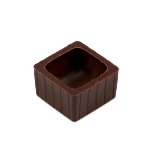 Pralinen Hohlkörper quadratisch aus Zartbitterschokolade