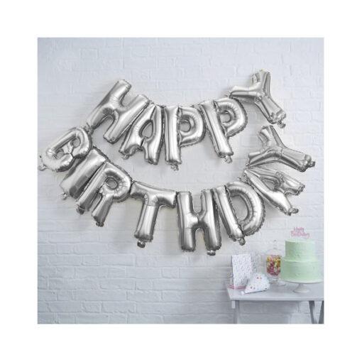 Ballon - Happy Birthday silber