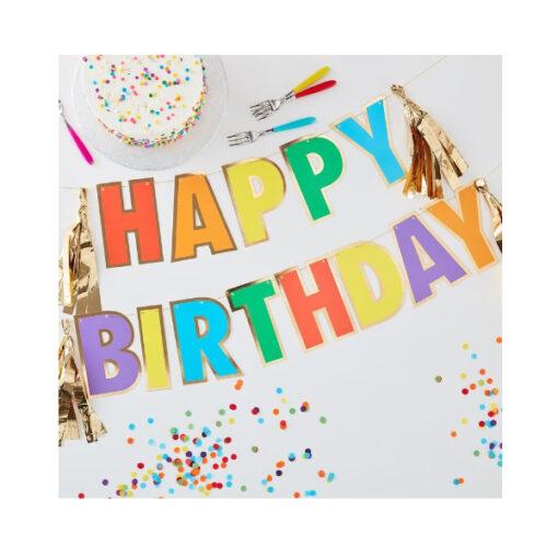 Girlande Happy Birthday - Regenbogen